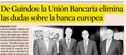 Luis de Guindos: La Unión Bancaria eliminará las dudas sobre la solvencia de la banca europea