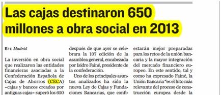 Las cajas destinaron 650 millones a obra social en 2013
