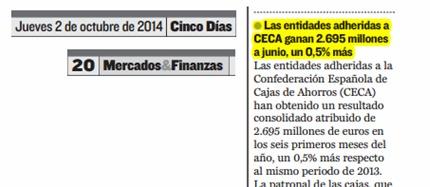 Las entidades adheridas a CECA ganan 2.695 millones a junio, un 0,5% más