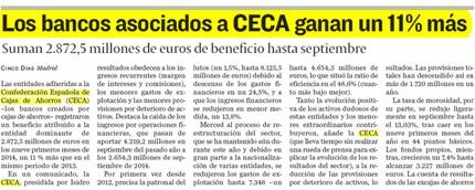 Los bancos asociados a CECA ganan un 11% más