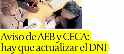 Aviso de AEB y CECA: hay que actualizar el DNI