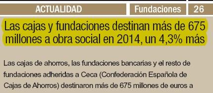 Las cajas y fundaciones destinan más de 675 millones a obra social en 2014, un 4,3% más