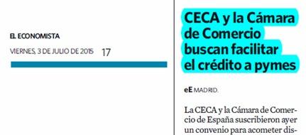 CECA y la Cámara de Comercio buscan facilitar el crédito a pymes