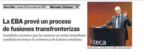 La EBA prevé un proceso de fusiones transfronterizas