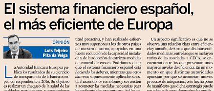 El sistema financiero español, el más eficiente de Europa. Luis Teijeiro Pita Da Veiga, Director de Regulación y Estudios de CECA